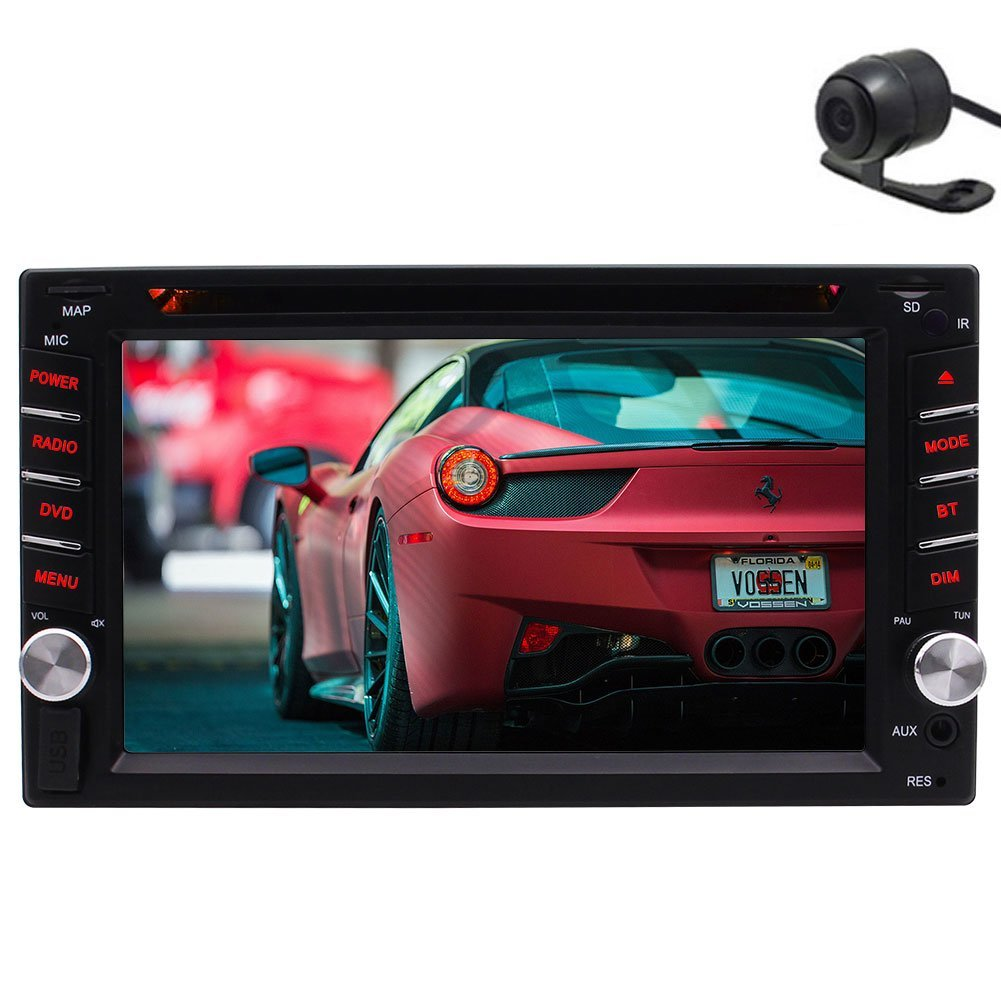 Eincar With Free Rear Camera!6.2 Inch HD Capacitive Touch Screen Double Din Car Gps Navigation In Dash Head Unit Car Stereo Radio DVD CD Video Player Support Bluetooth TF/USB AUX SWC Remote Control