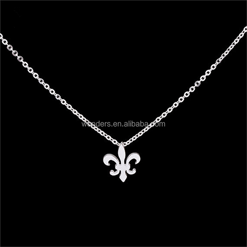 Classic Stainless Steel necklace Fleur De Lis pendant Chain Necklace jewelry PVD plated Gold or silver color