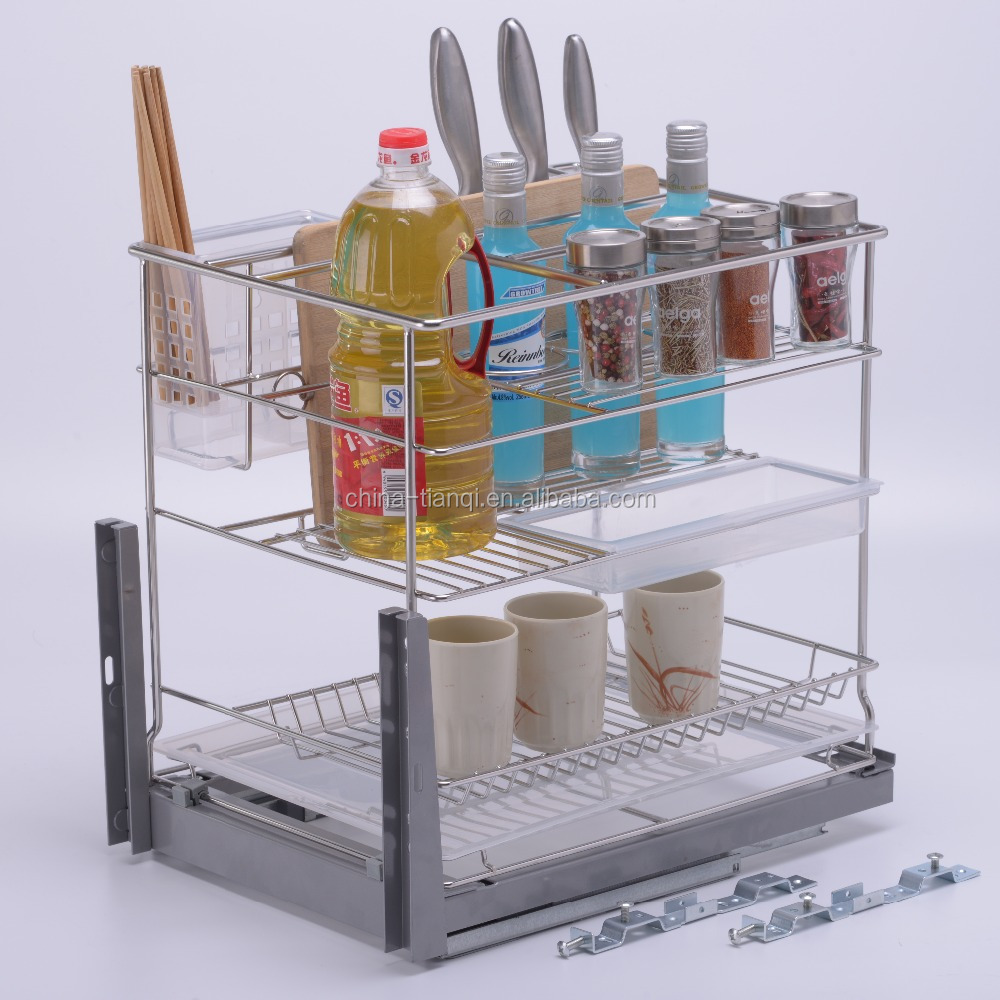 Double Layer Kitchen Pull Out Cabinet Basket   Buy Kitchen Pull Out Basket,Multi Functional  Kitchen Cabinet Baske,Portable Kitchen Cabinet Baske Product On ...