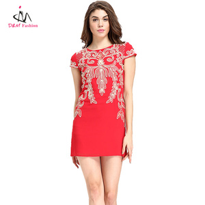 Wholesale Cheap Customized Women Ladies Red Embroidery Fancy Traditional Chinese Dress