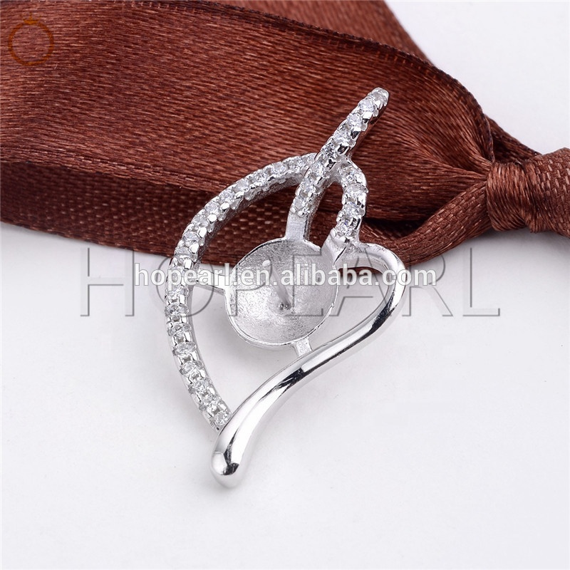 SSP247 DIY Gift Cubic Zirconia Pearl Findings 925 Sterling Silver Heart Pendant for Pearl Jewellery