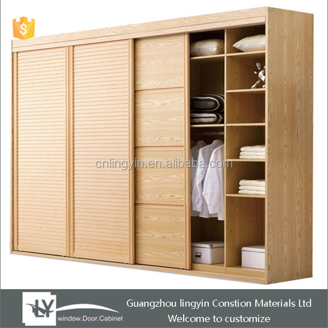 2015 modern solid wood bedroom wardrobe customized with 4 for Bedroom wardrobe shutter designs