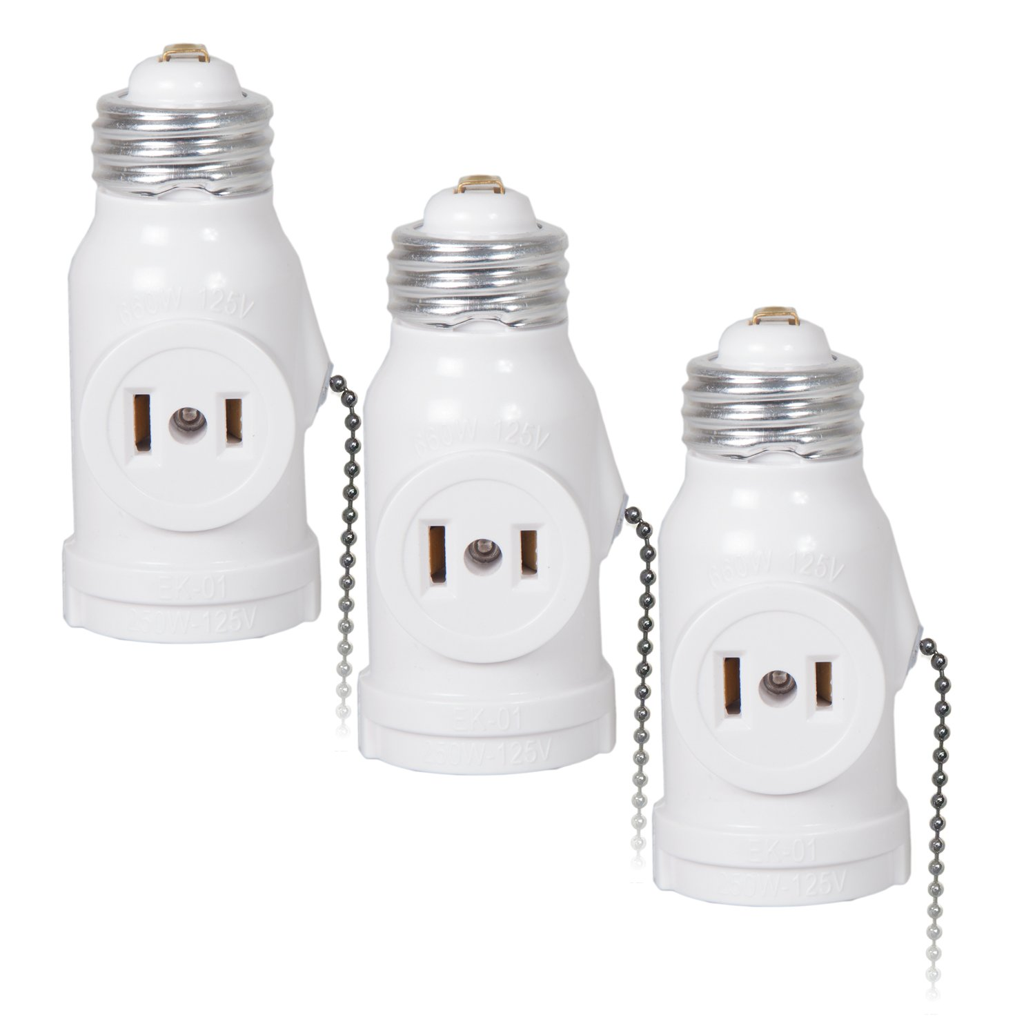 Get Quotations Maima Dual Outlet Light Socket Adapter With Pull Chain Turn E26 Standard