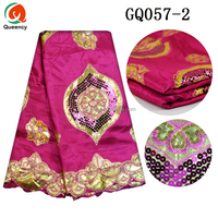 GQ057 Queency African Bridal Dress Design Indian George Wrappers Fabric with Gorgeous Sequins