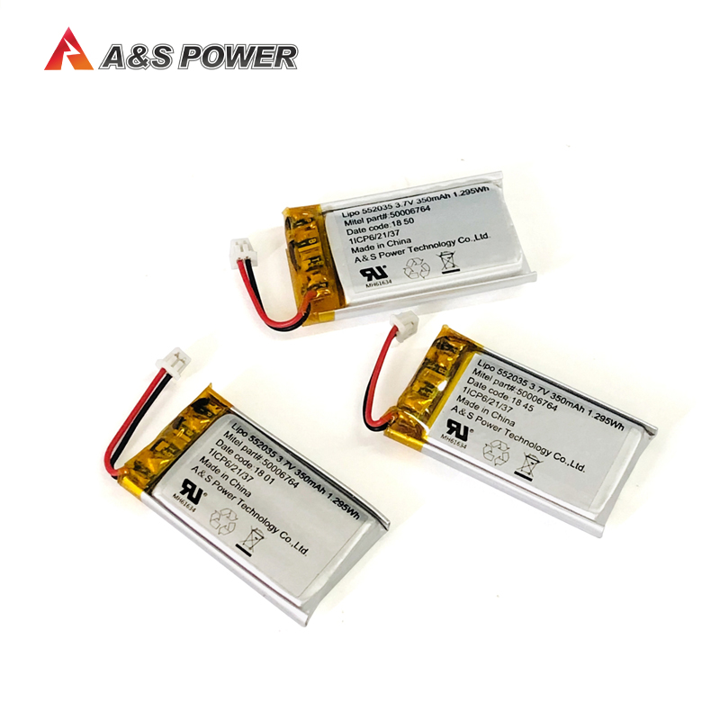 UL2054 Rechargeable 552035 3.7v 350mAh lithium ion Li-polymer Battery for wireless device