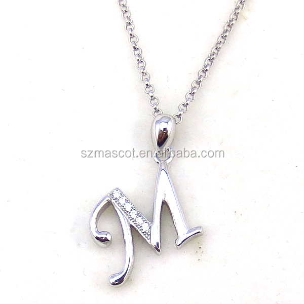 Initial Letter Cheap Silver Pendant Jewelry ,Letter M Design