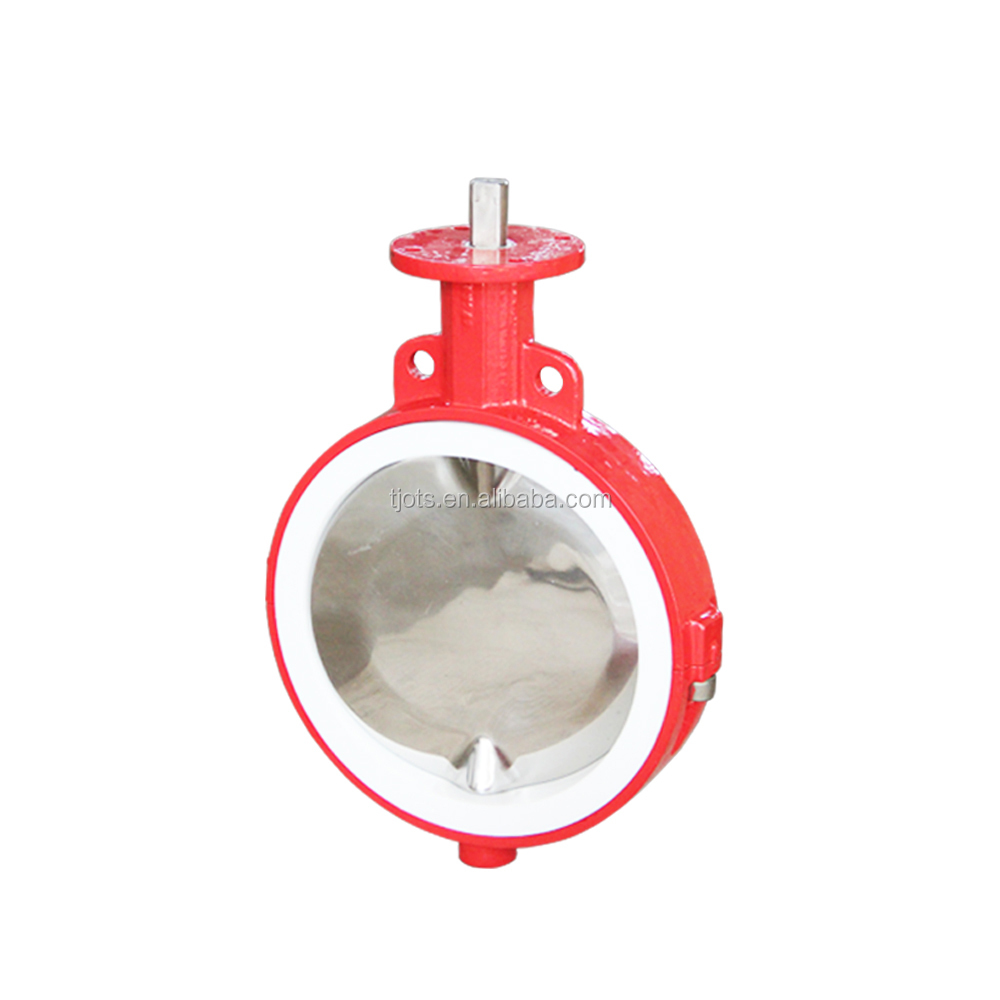 Kimia PTFE Wafer Butterfly Valve dengan Hand Lever