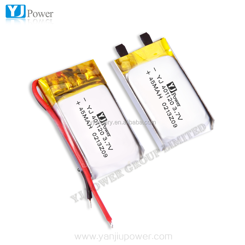 Smart Watch Battery 401120 Small 3.7v Lipo Battery 45mAh 4 x 11 x 20mm