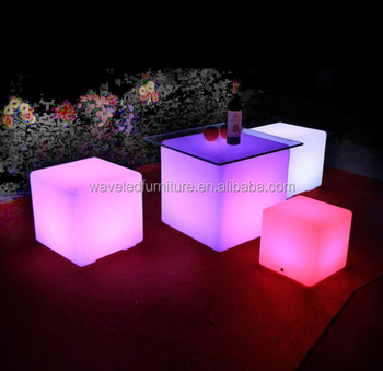 60cm outdoor furniture led square Nightclub light up led cube table