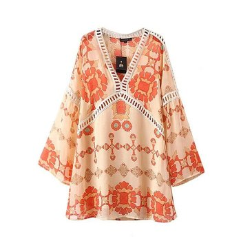 Holiday beach dress lace trim frocks floral tunic bohemian blouse for women