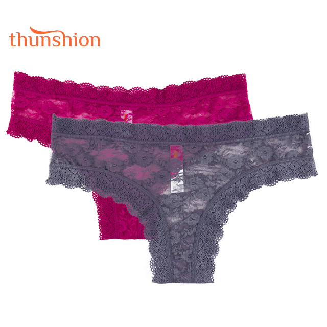 Thunshion High Quality Sexy Lace Lingerie Transparent Bikini Panties Women's Underwear