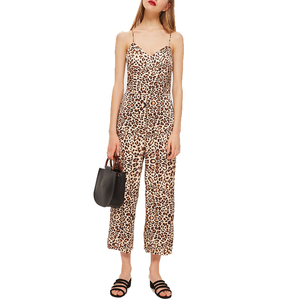 OEM Women Leopard Print Backless Strap Jumpsuit