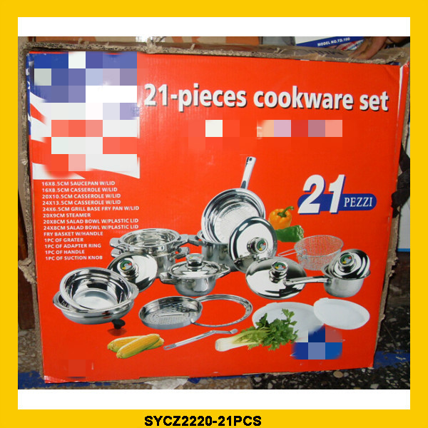 21pcs set stainless steel cookware