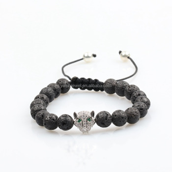 Animal Leopard Head Lava Beads