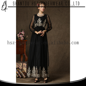 Zakiyyah 9508 Black Islamic Wear Fancy blouse lycra maxi muslim women long sleeve long shirts