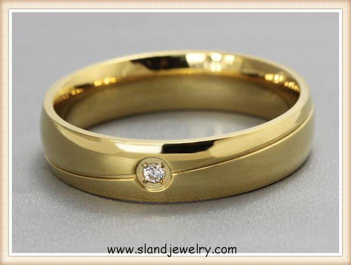 New Product 18k Gold Anti allergy Ring Men Simple Single Diamond