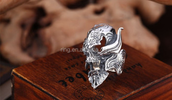 925 Sterling Sliver Uncomplete Garo Skull Rings Punk Rock Jewelry For Men