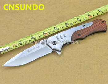 3Cr13MoV Steel Blade Metal Handle Wood Inlay Satin Finish Folding Blade Knife Pocket Knife Hunting Knife