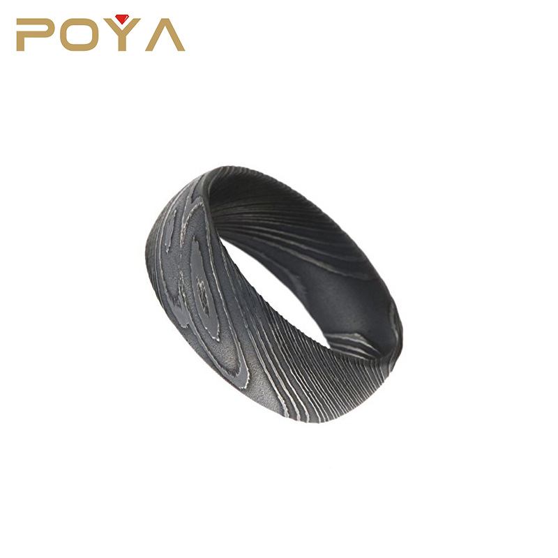 POYA Jewelry Factory Price Wholesale Black Plated Damascus Steel Engagement Wedding Bands 8mm For Boys And Girls