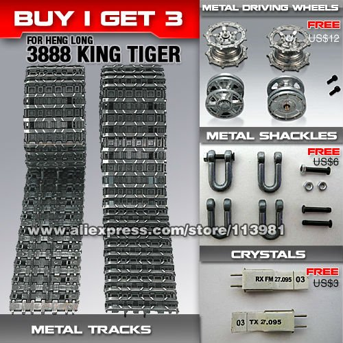 DWI dowellin Metal Tracks accessories parts For Heng Long 1 16 King Tiger RC Tank 3888 Driving Idling Wheels toys accessories