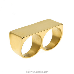 DAICY men's simple stainless steel two fingers hip hop jewelry gold plated ring