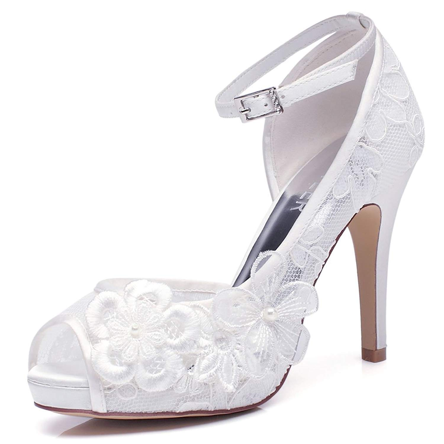 LUXVEER White Lace Wedding Shoes for Bridal with Floral Brooches Medium Heel-4inch-Peep Toe