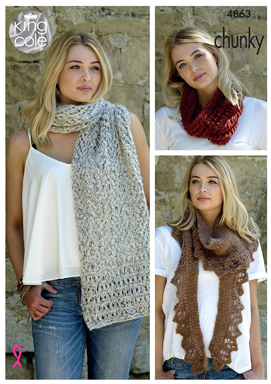 85f185f7ed5 Get Quotations · King Cole Ladies Chunky Knitting Pattern Womens Lace Scarf  Lacy Shawl   Snood (4863)