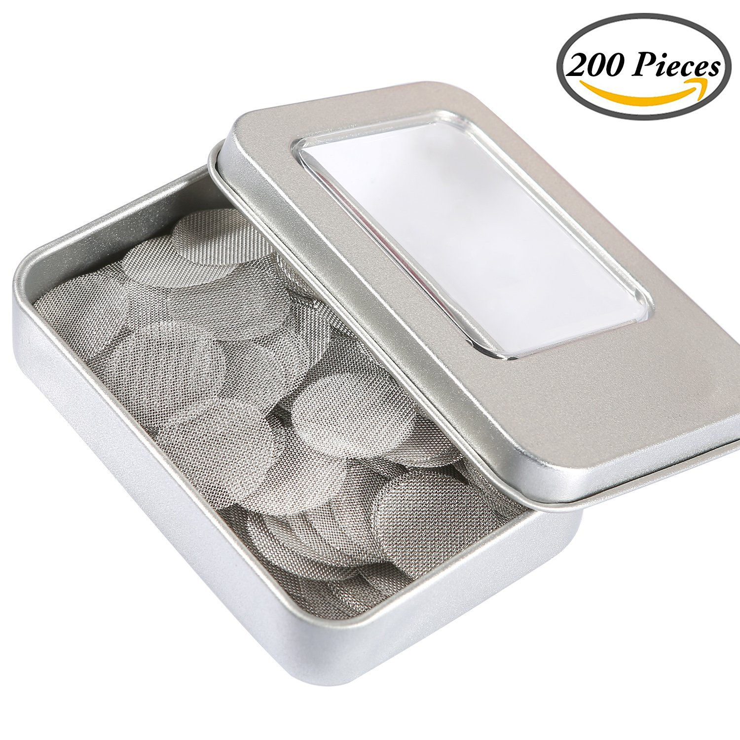 Coobey 200 Pieces Stainless Steel Screen Smoking Pipe Screens Filters 0.75 Inch with Silver Metal Boxe (Silver)