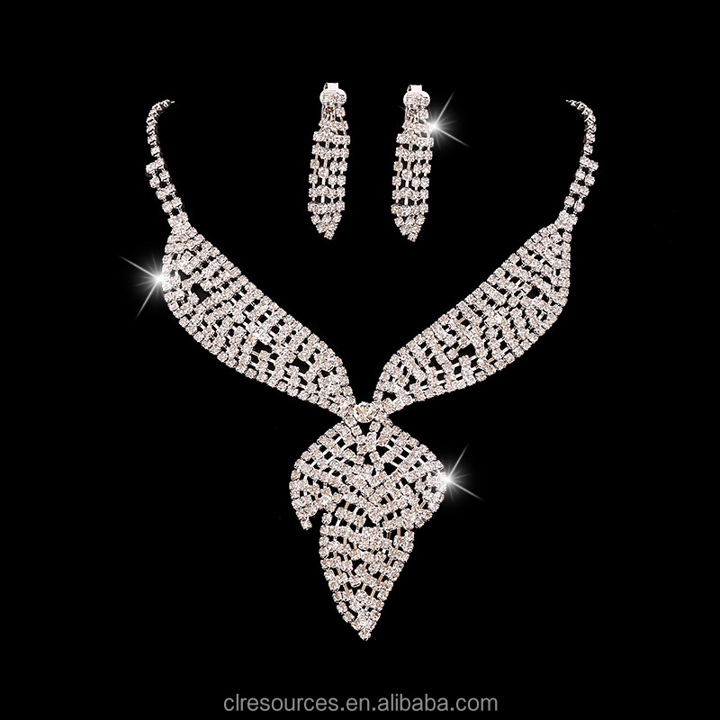 Crystal Rhinestone Teardrop Jewelry Set Crystal Wedding Necklace Set