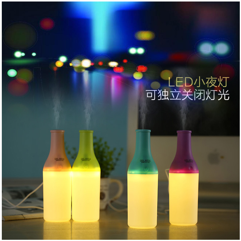 Hot new cool bottle USB humidifier Warm light night light small humidifier Water bottles mini humidifier