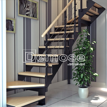 Wooden Treads Home Used Metal Stairs