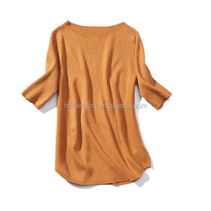 OEM custom women casual soft plat knit half sleeve t shirt wholesale
