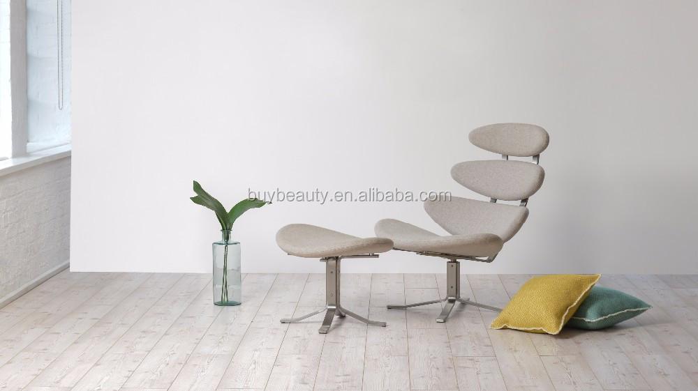 Corona Rojo Cuero Chaise Lounge Silla Con Otomana - Buy Chaise ...