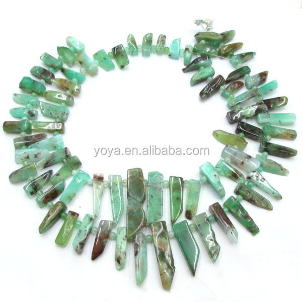 SB6373 Wholesale chrysoprase stick spike beads
