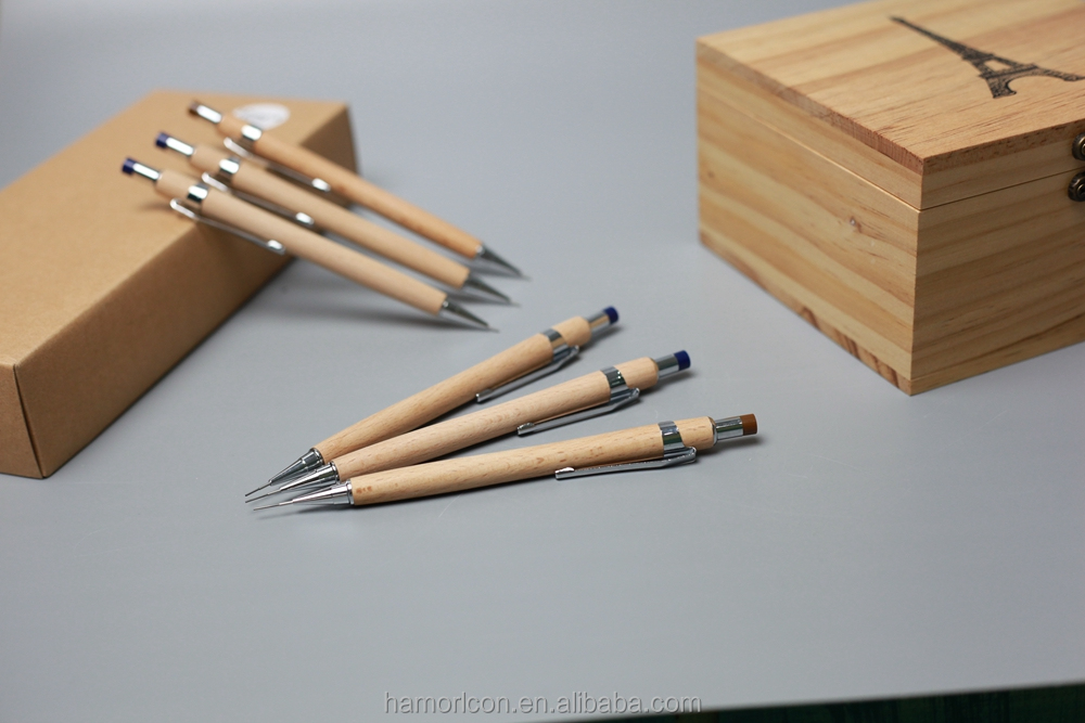 wooden wood ball <strong>pen</strong> with top mechanism mechanical & automatic pencil