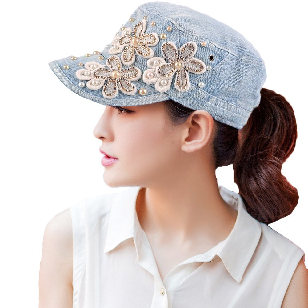 Yimidear Female UV sun hat Cowboy hat Lady summer outdoor sports visor cap Women Baseball cap Peaked cap (Light Blue)