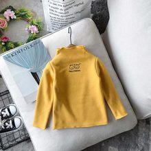 WLG/зимняя водолазка для девочек, плотные футболки, детские вельветовые футболки с принтом из мультфильмов, Детские повседневные универсаль...(Китай)