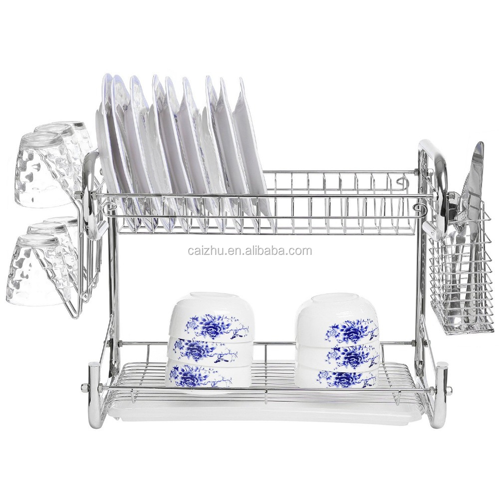 Chrome Plated Stainless Steel 2 Tier Dish Rack Storage Cup Drainer Cutlery Drying Basket Buy Dish Rack Storage Cup Drainer Cutlery Drying Basket Product On Alibaba Com
