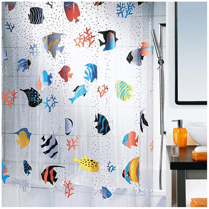 Fish Peva Clear Plastic Shower Curtain New Design Fashion Bath