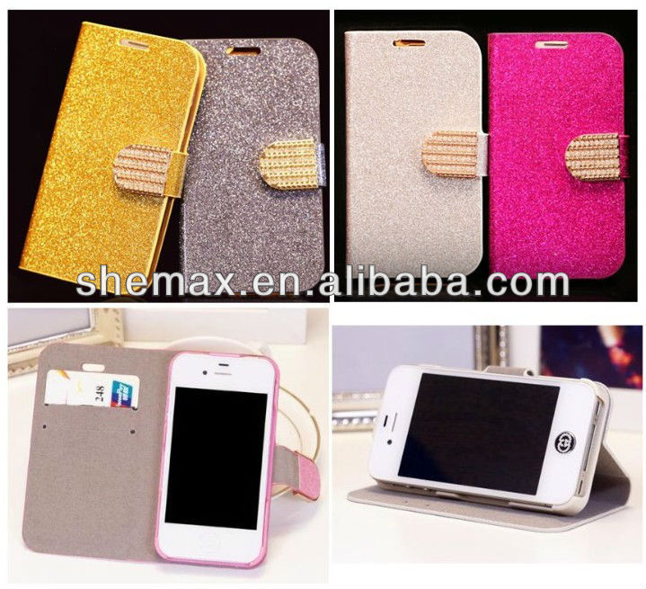 Diamond Bling Flip Magnetic Pu Leather Wallet Case Cover for iPhone 4G 4S 5