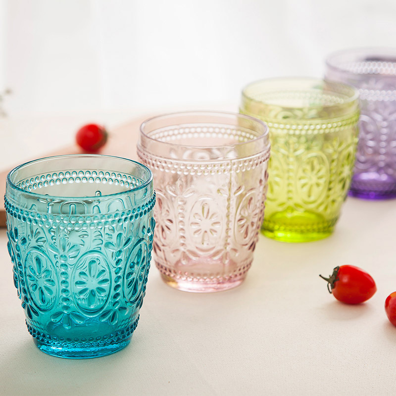 300ml European Retro Color Embossed Thick Water <strong>Glass</strong> And Wine <strong>Glass</strong> Cheap Vintage Drinking Tumblers