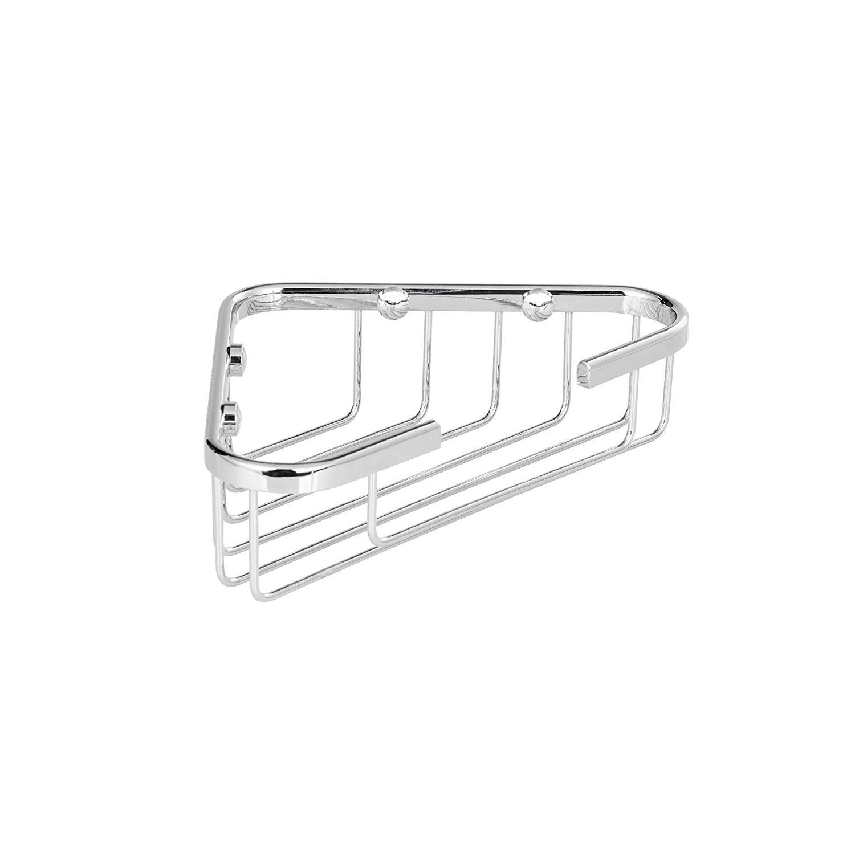 "MAYKKE Dawn 7"" Wall Mount Corner Shower Basket Shelf | Wire Caddy for Shampoo, Conditioner, Soap, Razor Storage | Solid Brass Bathroom Tub Accessories Holder & Organizer | Polished Chrome, XYA1070301"