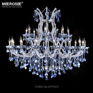 Blue Color Maria Theresa Crystal Chandelier Lamp Light Lighting Fixture Large White Chandelier Lusters MD8655-L24