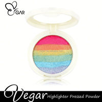 2016 Rainbow highlighter pressed powder OEM your own brand glitter powder highlighter makeup