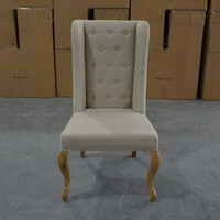 French Beige Fabric Tufted Wing Back Hang Ring Dining Chair