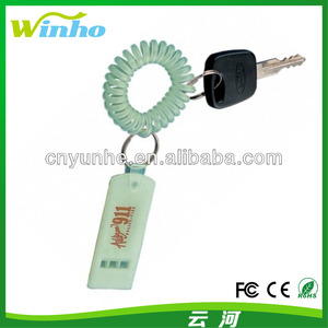 Coil Key Tags Glow in the Dark Flat Whistle