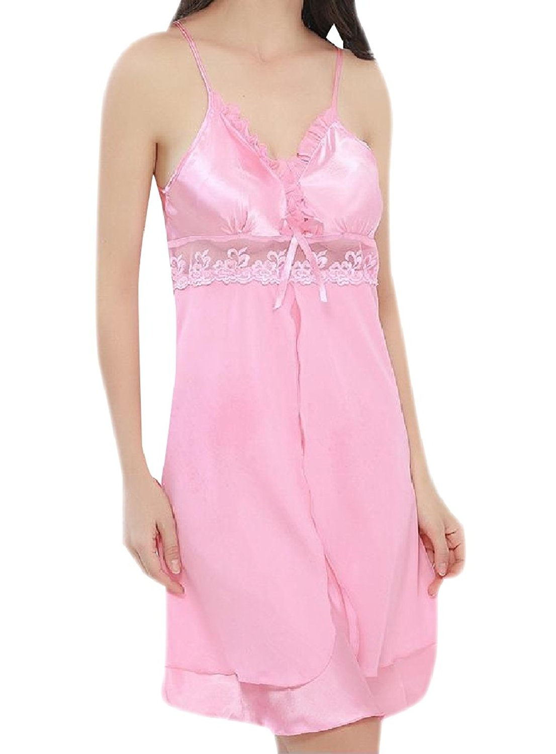 Zimaes-Women Bandeaux Chiffon See-Through Sexy Floral Lace Sleeping Dress
