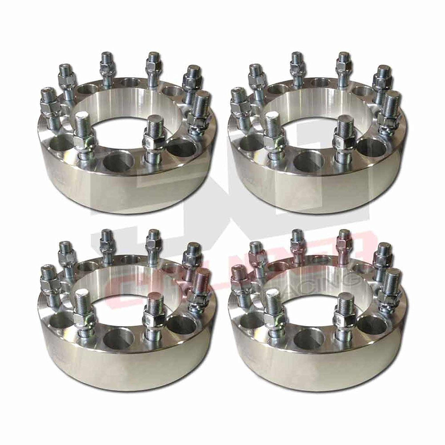 "Set of Four (4) Wheel Spacers – 8x6.5"" (8x165.1mm) Bolt Pattern, 1.5 Inch Thick 9/16"" Studs Dodge Ram Ford F-250 F-350 Chevy GMC C20, K20 [5284-A22]"
