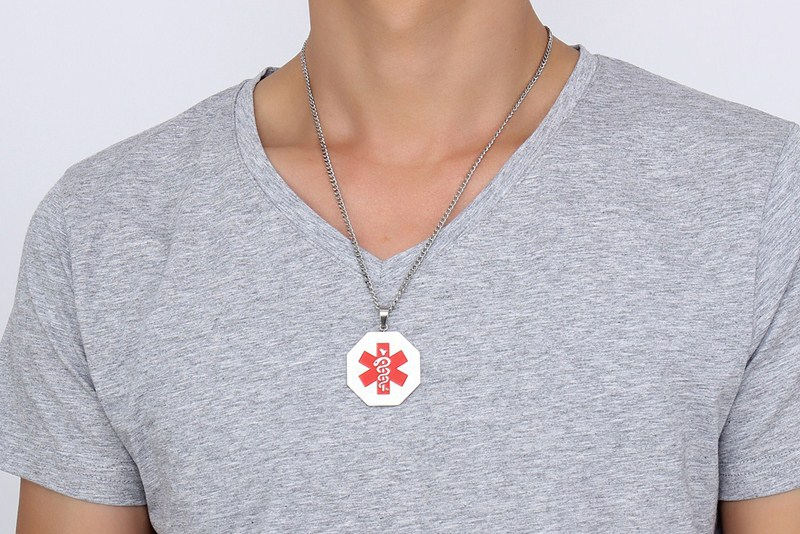 Men fashion jewelry octagon pendant medical alert necklace