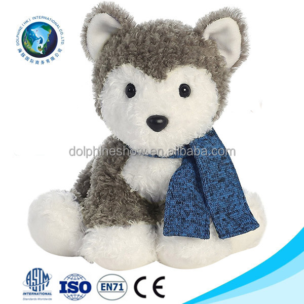 Custom cute stuffed plush husky toy with scarf Wholesale cheap soft kids toy plush husky dog
